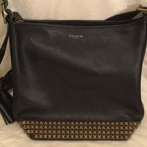 Coach black leather studded purse